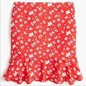 J. Crew Orange & White Lined Flow Ruffle Hem Skirt